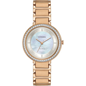 Citizen Eco-Drive Women's Swarovski Crystals White Mother Of Pearl Dial Rose Gold Bracelet Watch EM0483-54D