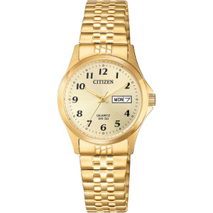 Citizen Quartz Women's Day Date Champagne Dial Bracelet Watch EQ2002-91P