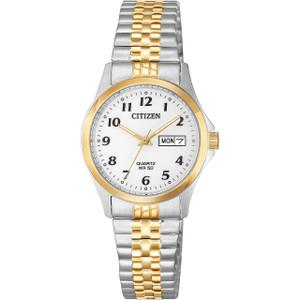 Citizen Quartz Women's White Dial Two-Tone Bracelet Watch EQ2004-95A