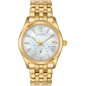 Citizen Eco-Drive Women's White Mother Of Pearl Dial Bracelet Watch EV1032-51D