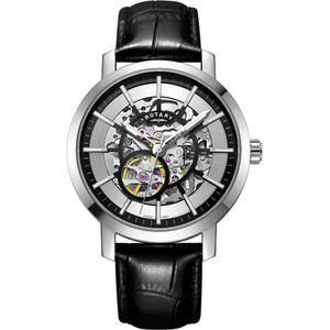 Rotary Men's Greenwich Sapphire Automatic Skeleton Black Leather Strap Watch GS05350/02