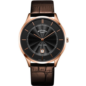 Rotary Men's Ultra Slim Sapphire Black Dial Brown Leather Strap Watch GS08404/04