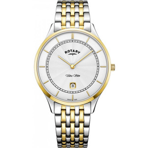 Rotary Men's Ultra Slim Sapphire Silver Dial Two-Tone Bracelet Watch GB08301/02