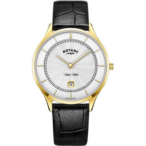 Rotary Men's Ultra Slim Sapphire Silver Dial Black Leather Strap Watch GS08303/02