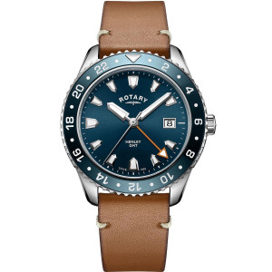 Rotary Men's Henley GMT Sapphire Blue Dial Brown Leather Strap Watch GS05108/05
