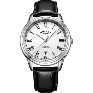 Rotary Men's Cambridge Automatic Sapphire Silver White Dial Leather Strap Watch GS05250/01