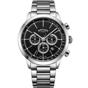 Rotary Men's Cambridge Chronograph Sapphire Black Dial Bracelet Watch GB05253/04