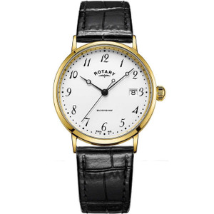Rotary Men's Buckingham 9ct Gold Case White Dial Leather Strap Watch GS11476/18