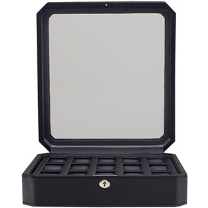 Wolf Windsor Black Wrist Watch Storage Box For 15 Watches 4585029