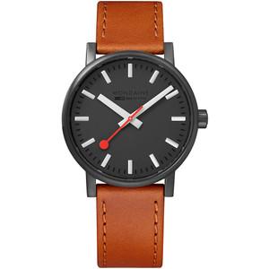 Mondaine Evo2 Big Men's Quartz Sapphire IP Black Plated Leather Strap Swiss Railways Watch MSE.40120.LG