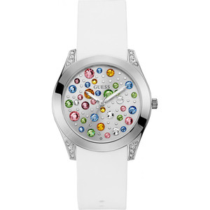 Guess Wonderlust Women's Multi-Coloured Crystals White Dial Silicone Strap Watch W1059L1