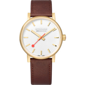 Mondaine Evo2 Men's Sapphire Gold PVD Plated Case Leather Strap Swiss Railways Watch MSE.40111.LG