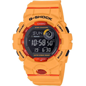 Casio G-Shock Men's Bluetooth Step Tracker World Time Orange Resin Strap Watch GBD-800-4ER