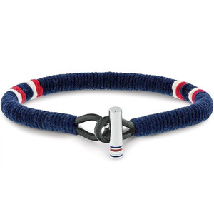 Tommy Hilfiger Men's Casual Core Wrapped Cord Blue Fabric Bracelet 2701070
