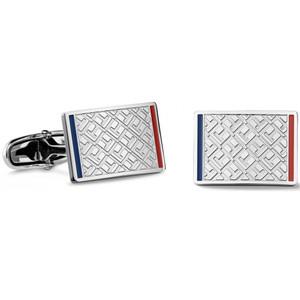 Tommy Hilfiger Men's Fine Core Jacquard Print Silver Cufflinks 2700696