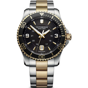 Victorinox Men's Maverick Swiss Army Sapphire Black Dial Two-Tone Bracelet Watch 241824