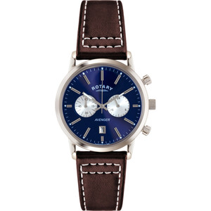 Rotary Men's Avenger Chronograph Blue Dial Brown Leather Strap Watch GS02730/05