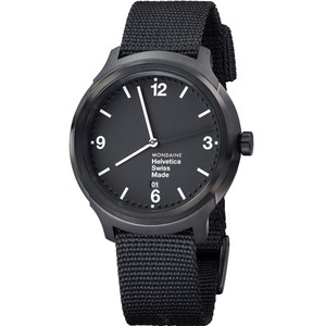 Mondaine Helvetica No1 Bold Sapphire Black Dial Watch MH1.B1221.NB