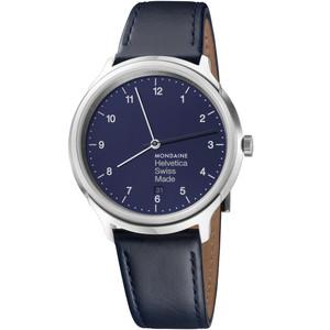 Mondaine Men's Helvetica No1 Sapphire Navy Dial Leather Strap Watch MH1.R2240.LD