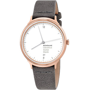 Mondaine Helvetica Sapphire White Dial Leather Strap Watch MH1.L2210.LH