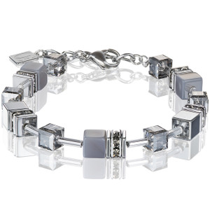 Coeur De Lion Ladies GeoCube Swarovski Crystals Agate/Haematite Light Grey Bracelet 4017-30-1220