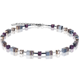 Coeur De Lion Ladies GeoCube Swarovski Crystals Haematite Multicolour Necklace 4015-10-0824