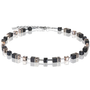 Coeur De Lion Ladies GeoCube Swarovski Crystals Onyx Necklace 4018-10-1300
