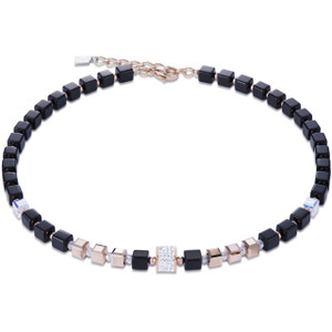Coeur De Lion Ladies GeoCube Swarovski Crystals Black And Rose Gold Necklace 4929-10-1800