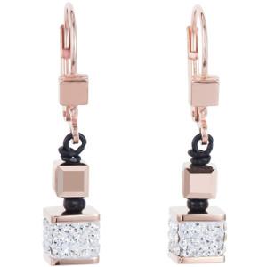Coeur De Lion Ladies GeoCube Swarovski Crystals Black And Rose Gold Earrings 4929-20-1800