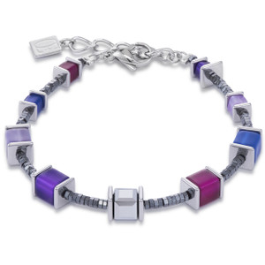 Coeur De Lion Ladies GeoCube Swarovski Crystals Purple Blue Bracelet 4945-30-0807