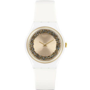 Swatch Original Gent Sparklelight White Silicone Strap Watch GW199