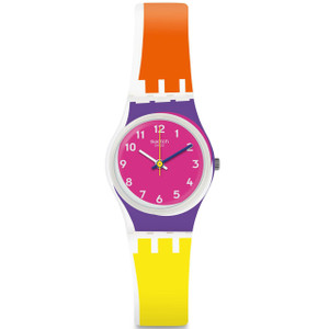 Swatch Original Lady Sun Through Orange And Yellow Silicone Strap Watch LK165