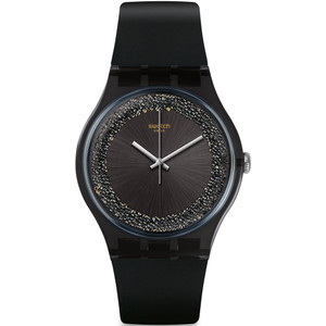 Swatch New Gent Darksparkles Black Silicone Strap Watch SUOB156