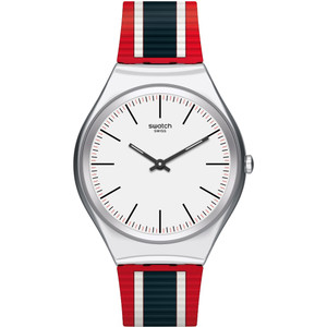 Swatch Skin Irony Skinflag White Dial Silicone Strap Watch SYXS114