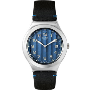 Swatch Irony Big Classic Cotes Blues Black Leather Strap Watch YWS438