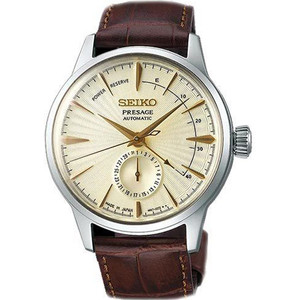 Seiko Presage Cocktail Time Date Power Reserve Brown Strap Automatic Watch SSA387J1