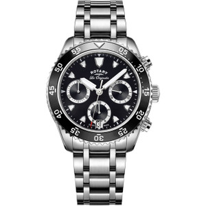 Rotary Swiss Made Legacy Men's Chronograph Black Dial Bracelet Watch GB90170/04