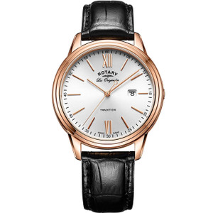 Rotary Swiss Made Tradition Men's Rose Gold Plated Case Leather Strap Watch GS90196/01