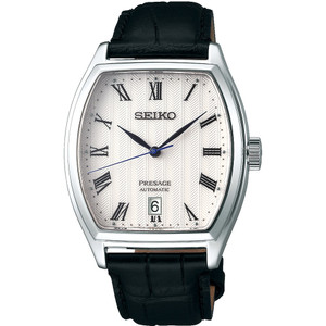 Seiko Men's Presage Automatic Tonneau Case Patterned White Dial Date Display Watch SRPD05J1