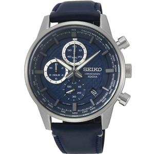 Seiko Men's Tachymeter Chronograph Navy Blue Dial Blue Leather Strap Watch SSB333P1