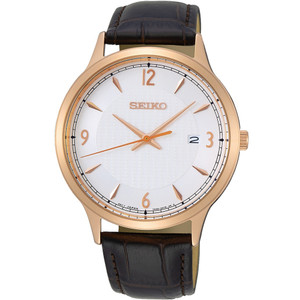 Seiko Men's Classic Off White Patterned Dial Brown Leather Strap Watch SGEH88P1