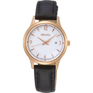 Seiko Ladies Classic Off White Patterned Dial Brown Leather Strap Watch SXDG98P1