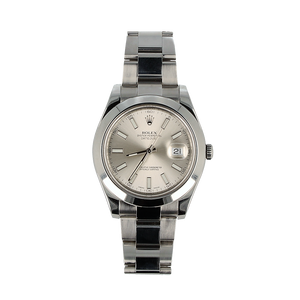 Pre-Owned Rolex Datejust II With Oyster Steel Bracelet And Silver Dial 116300