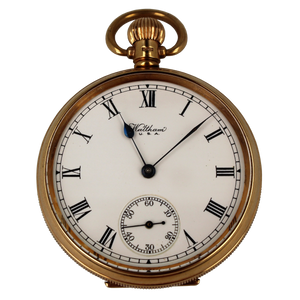 Pre-Owned Waltham USA 18ct Gold Mechanical Open Face Pocket Watch 1924 Front