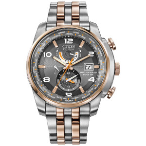 Citizen Dual Time Zone Radio Controlled World Time Watch AT9016-56H