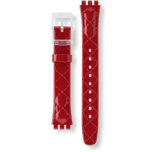 Swatch Watch Strap Leather Red Strawberry Jam ALK243 14mm with Free Battery