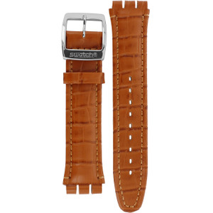 Swatch Watch Strap Leather Brown Irony Dark Phoenix For AYCS429