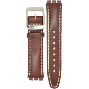 Swatch Watch Strap Leather Brown With Stitching Uomo D'Onore AYGS431 With Free Battery