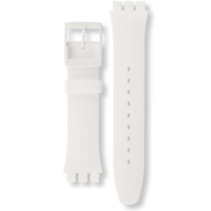 Swatch Watch Strap Soft Silicone White Rebel for ASUOW701 with Free Battery
