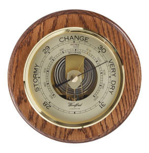 Woodford Wall Barometer Traditional English Solid Brass Oak 5 Inch Dial 1622